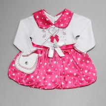 Платье нарядное для малышек розового цвета с сердечками