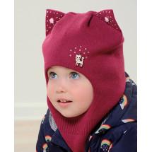 Шапка-шлем для девочек лилового цвета с ушками БАРБАРИСКА