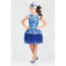 """Платье нарядное с многослойной юбкой синего цвета """"Брайт"""""""