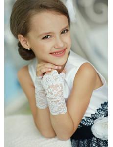Митенки белые кружевные на девочку Незнакомка (7-12 лет)