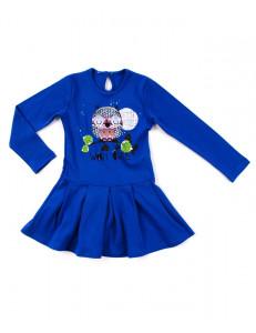 """Платье для девочек василькового цвета """"сова спит"""""""