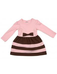 Платье с длинным рукавом розовое в коричневую полоску